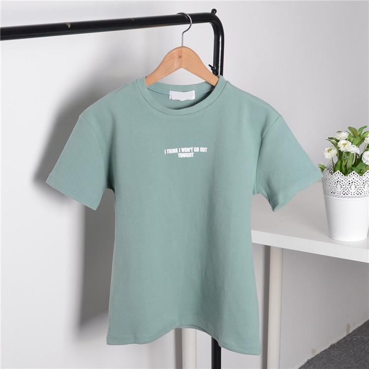 Áo thun trơn màu in họa tiết chữ cái