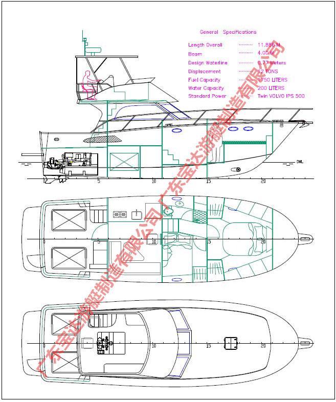 船舶-POLY42英尺玻璃钢豪华游艇v船舶钓鱼艇建筑入门图纸韩国图片