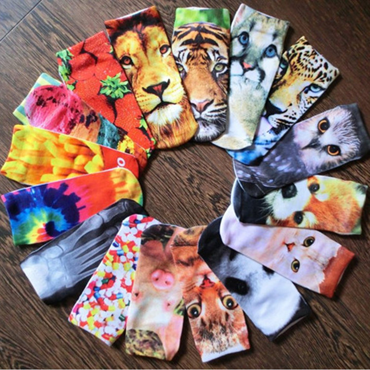3D Printed Socks Women New Unisex Cute Low Cut Ankle Socks Multiple Colors Women Sock Women's Casual Animal Shape Socks