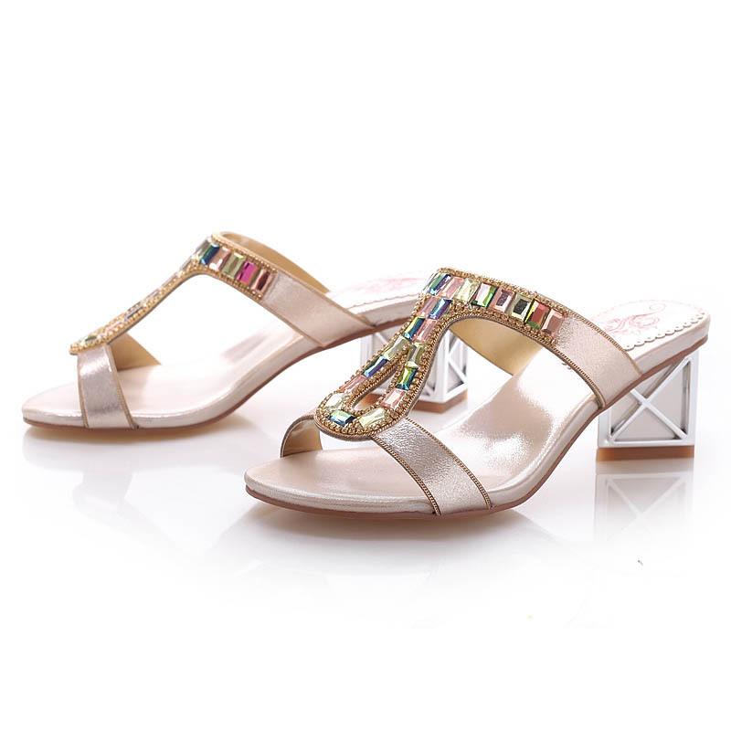 代理女鞋 水晶凉鞋 中跟韩版风格舒适美丽 -凉鞋 凉拖 中国黄页