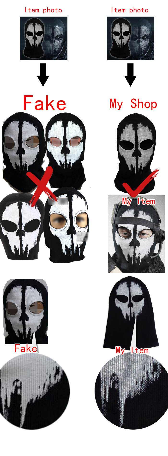 1x Cotton Balaclava Face Skull Ghost Mask Army Military Face Mask ...