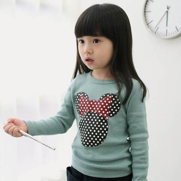 2015韩版冬装新款 卡通图案长袖棉不倒绒T恤 女童保暖加绒打底衫