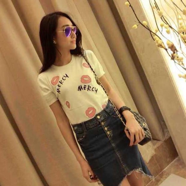 2014春季热卖新款韩版个性女生短袖T恤 圆领
