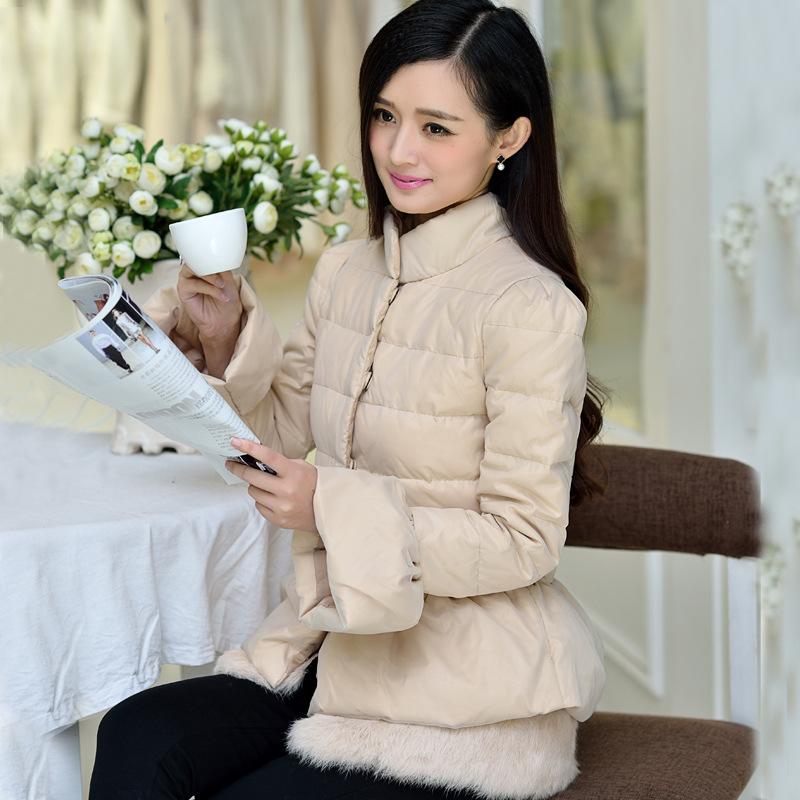 2014韩版新款獭兔毛拼接时尚修身韩版加厚短款羽绒服女特价