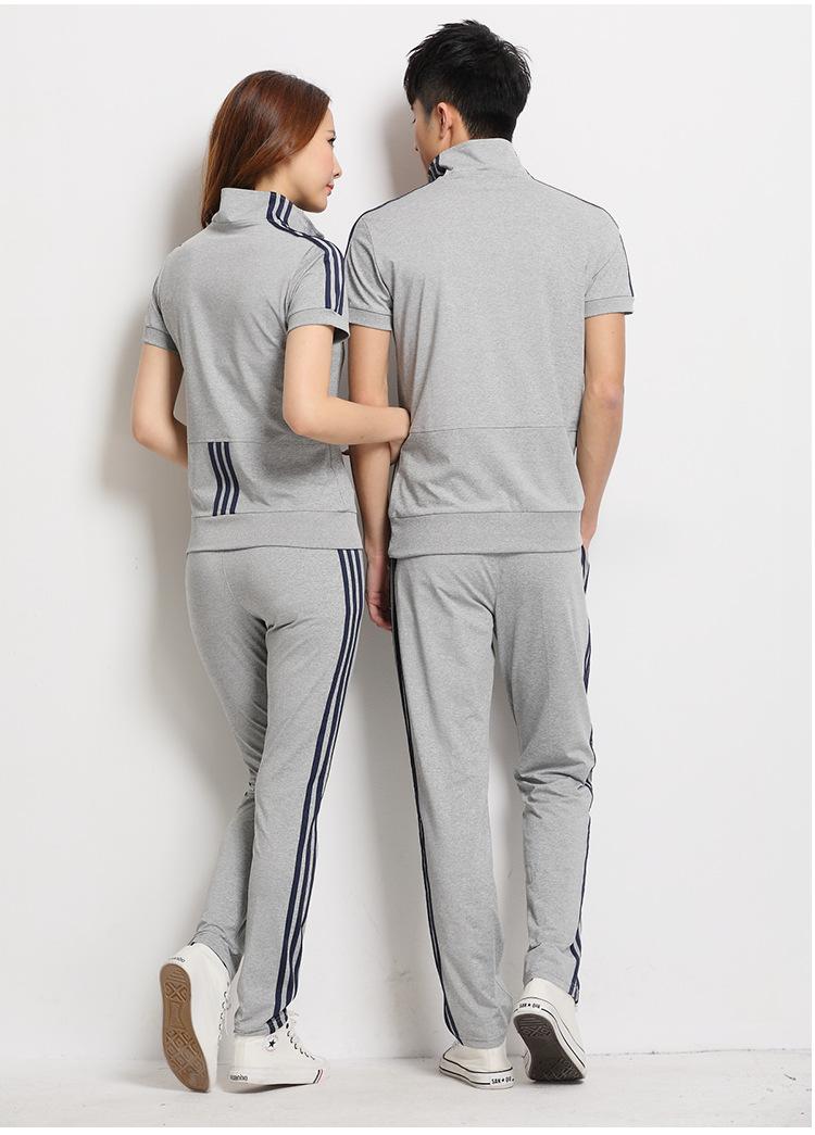 情侣运动套装 夏季新款情侣运动套装女装短袖运动装情侣装休闲男批发