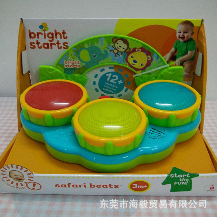 brightstarts儿童仿真益智发光音乐玩具架子鼓手敲鼓批发厂