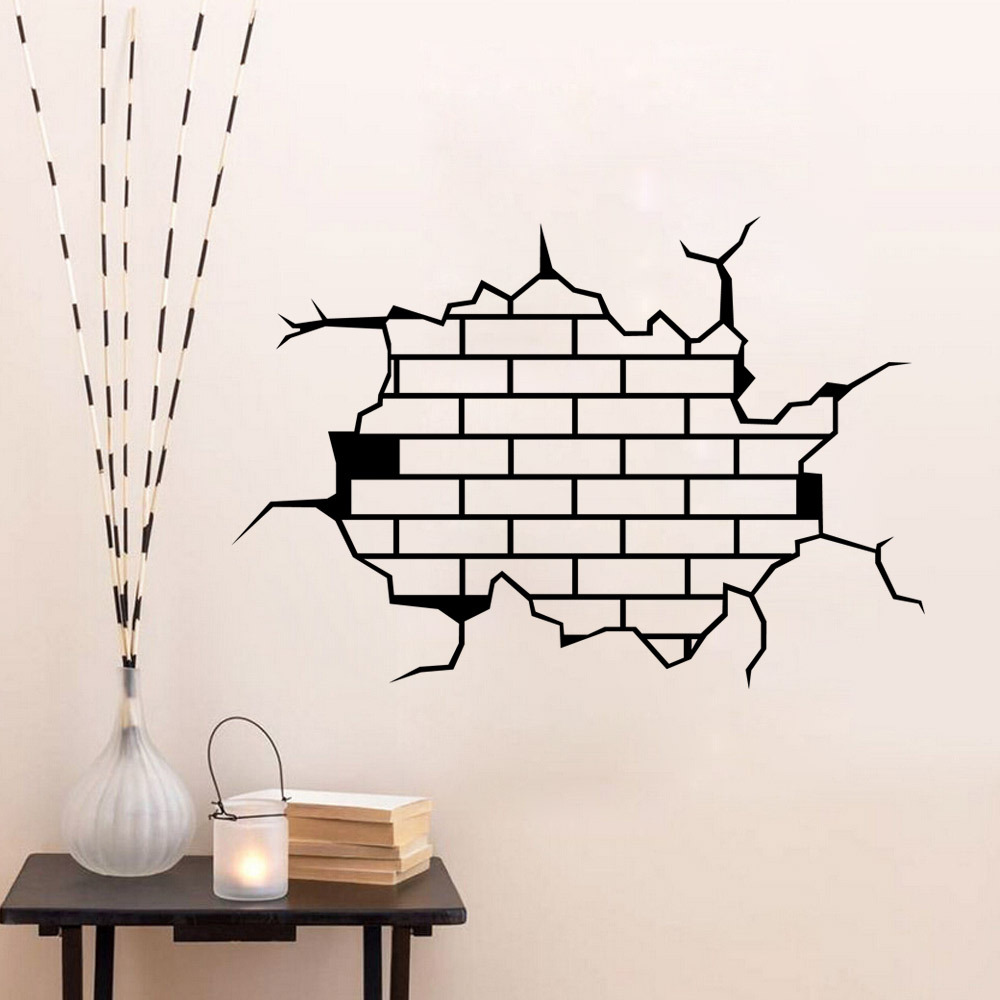 removable 3d funny crack wall stickers room mural decals diy home undefined