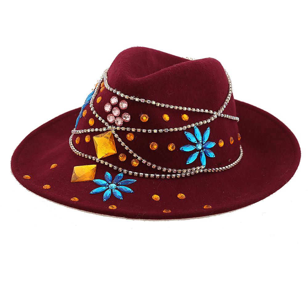 民族风帽子 外贸原创个性宝石花朵礼帽 特色民族风帽子独家原创 阿里
