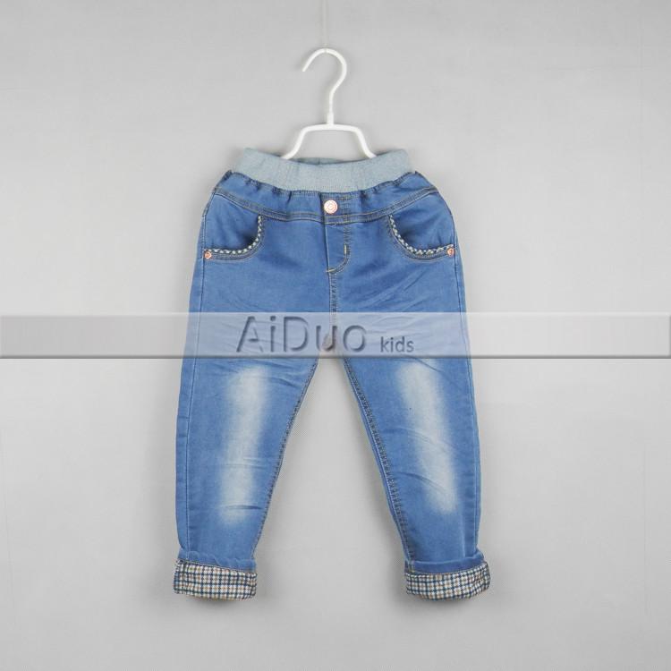 2015春款新品 童裤批发 外贸品牌童装儿童格子卷边 牛仔长裤 02