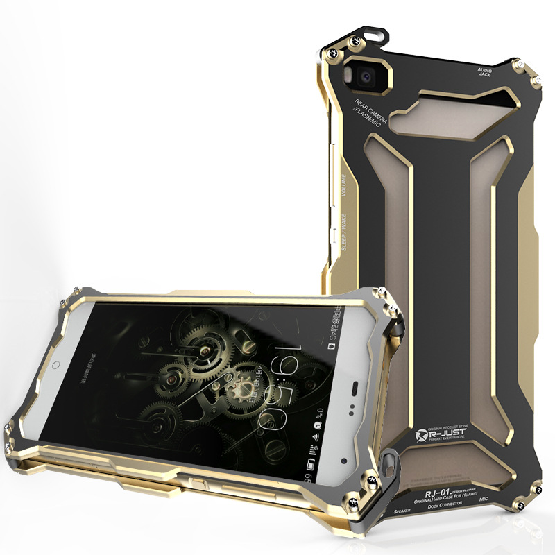 R-JUST GUNDAM Shockproof Aluminum Alloy Double Color Oxidation Metal Protective Case for Huawei Ascend P8/ P8 Lite