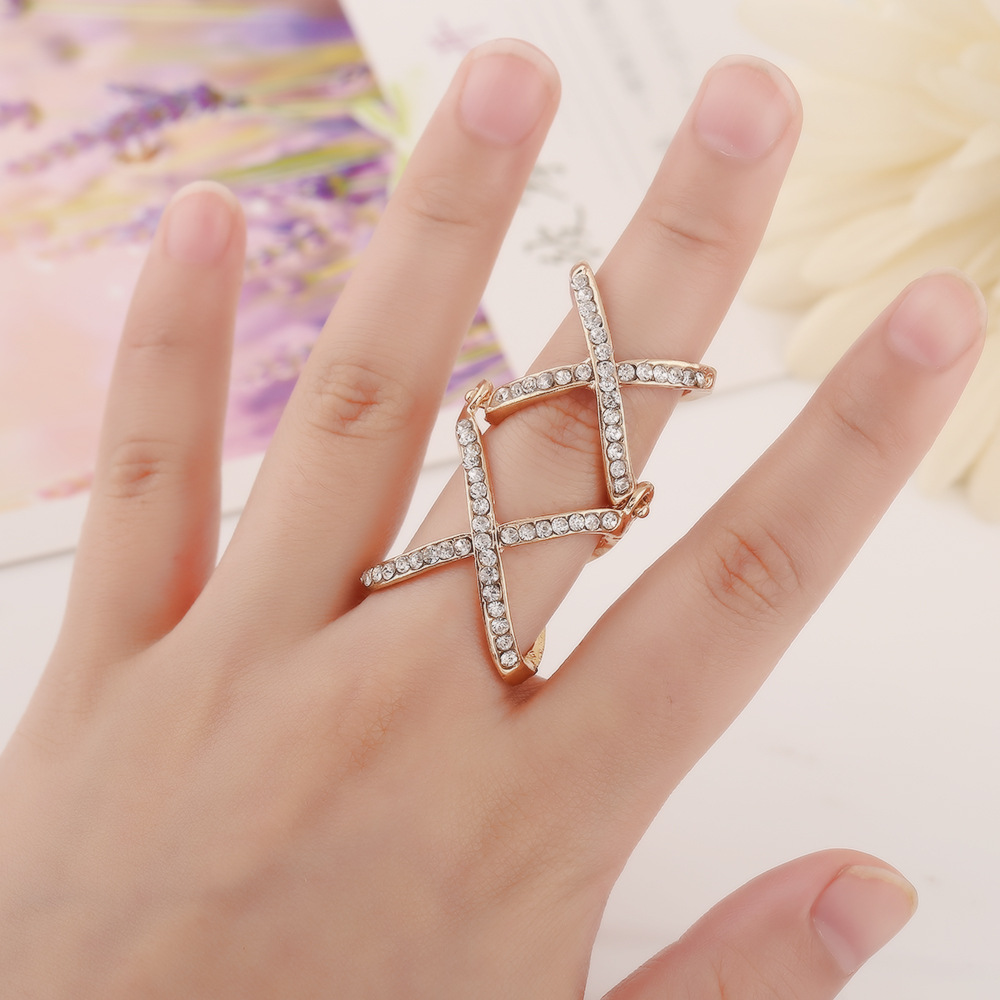 2015 New Jewelry knuckle ring Punk Style Double Cross Shine ...