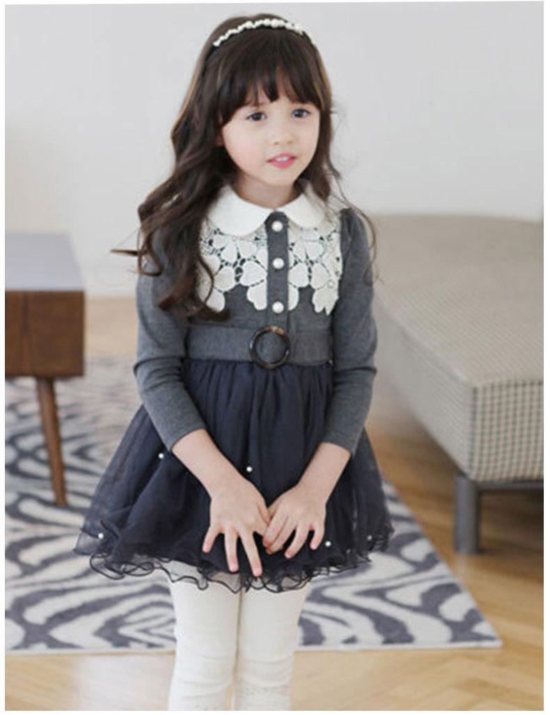 韩版女童连衣裙 2017春款童装批发中小童裙娃娃领蕾丝公主裙蓬蓬裙