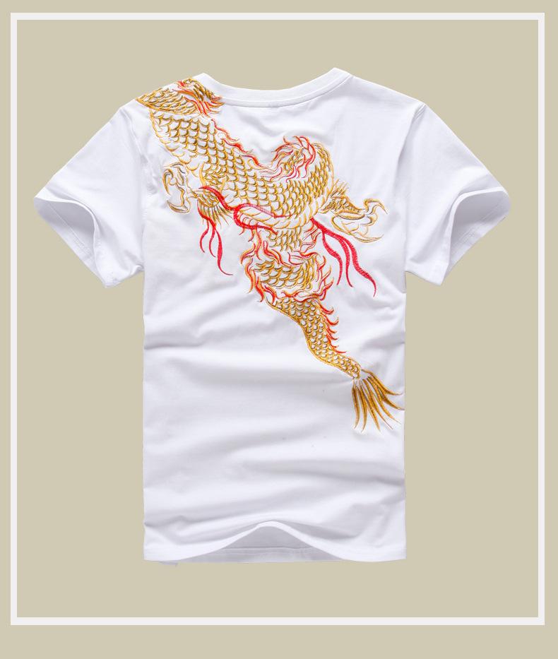 015夏季男式中国风短袖T恤 原创设计男式中国风刺绣短袖纯棉t恤 -